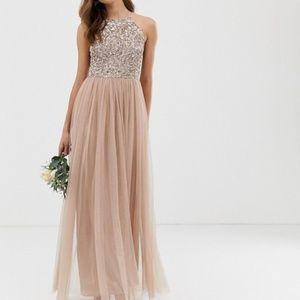 Bridesmaid Asos Maya Halter top Sequin Maxi Dress